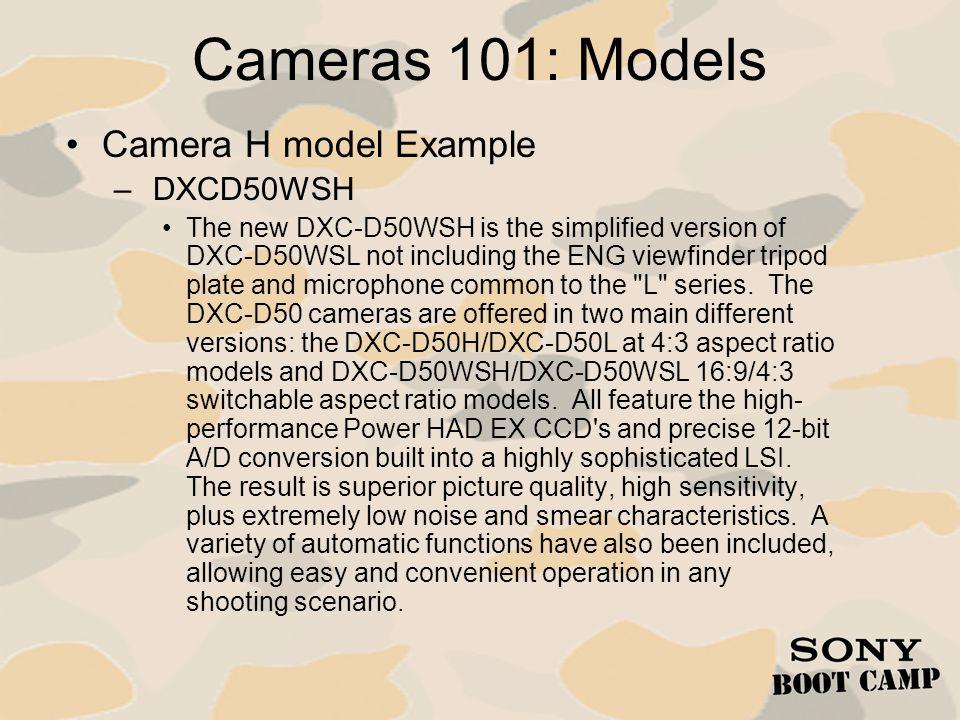 Cameras 101: Models Camera H model Example DXCD50WSH
