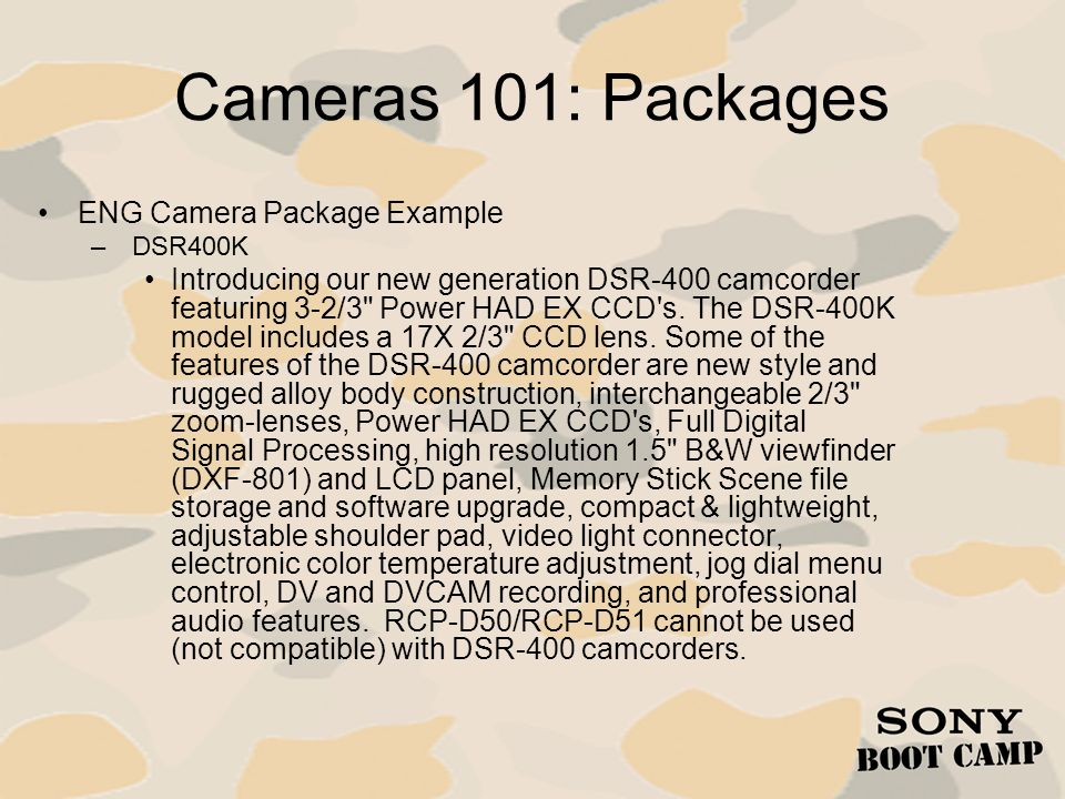 Cameras 101: Packages ENG Camera Package Example