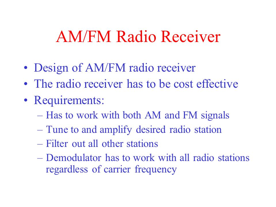 AM/FM Radio Receiver Design of AM/FM radio receiver