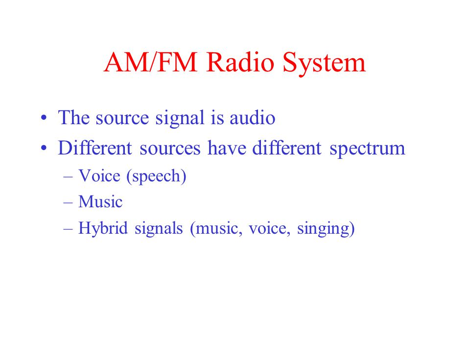 AM/FM Radio System The source signal is audio