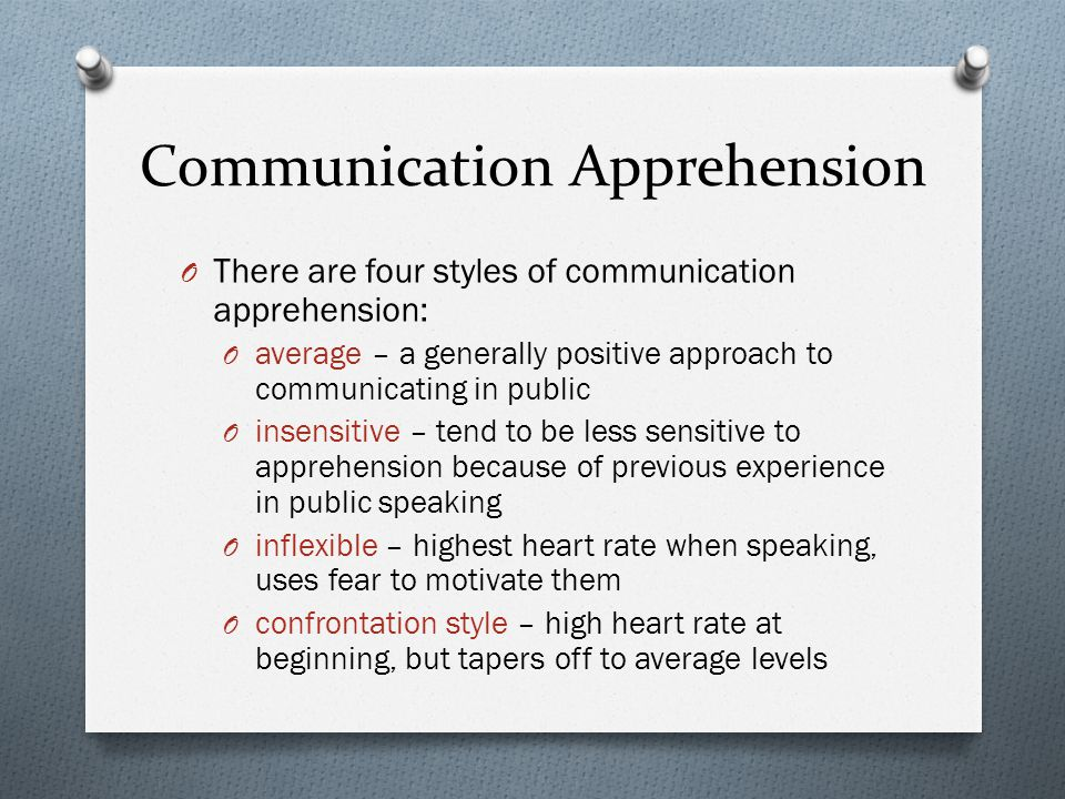 "communication apprehension (mccroskey & richmond, 1979) the term 'communication apprehension' was  coined by james mccroskey (1976a) and is defined as ""an individual's level of."