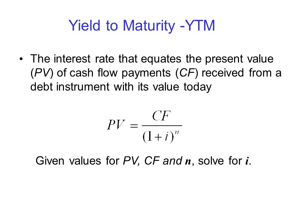 Yield to Maturity -YTM