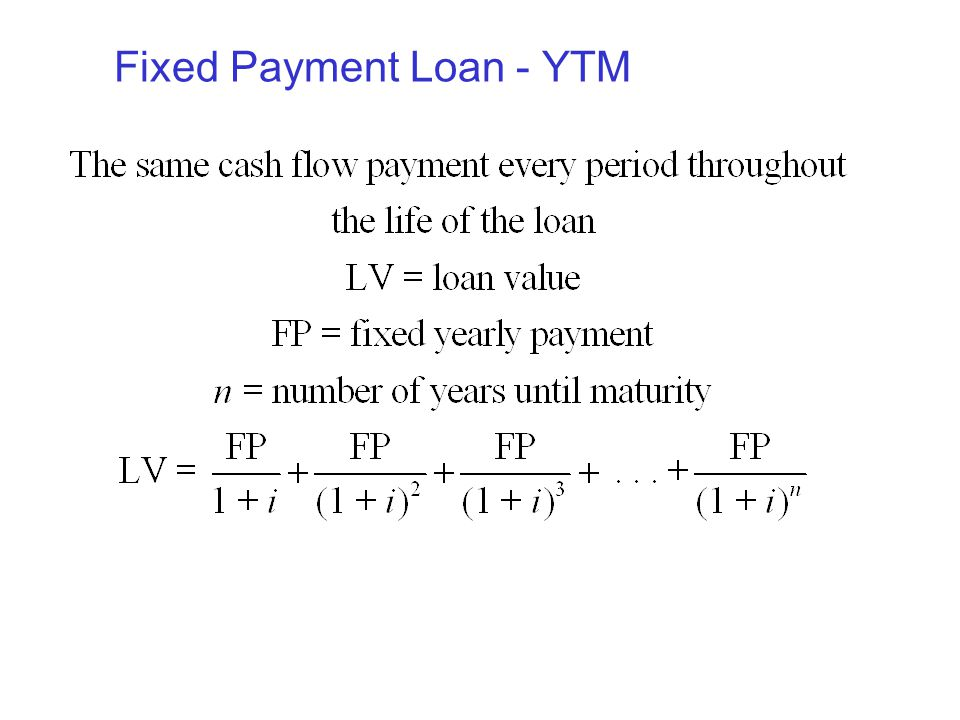 Fixed Payment Loan - YTM