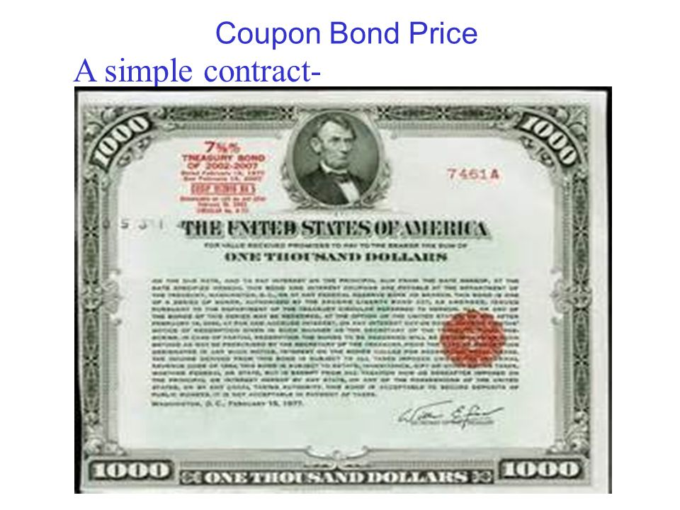Coupon Bond Price A simple contract-
