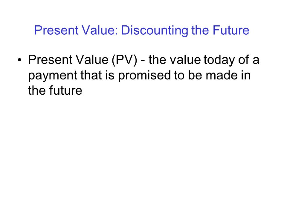 Present Value: Discounting the Future