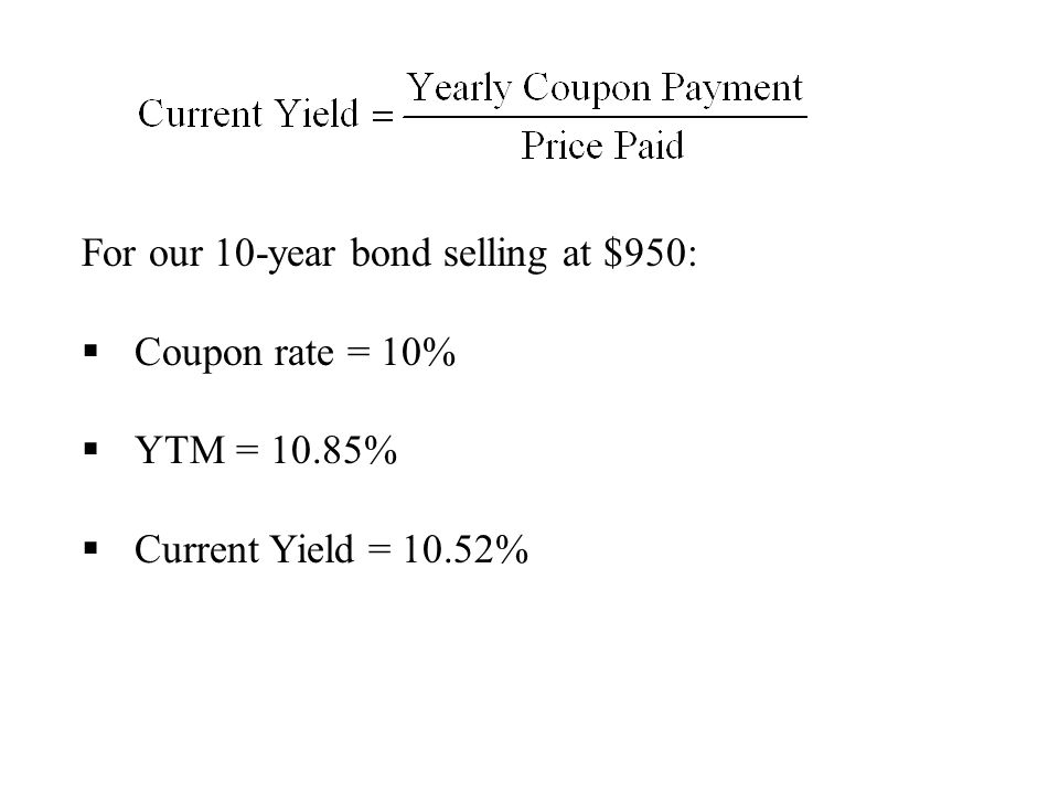 For our 10-year bond selling at $950: