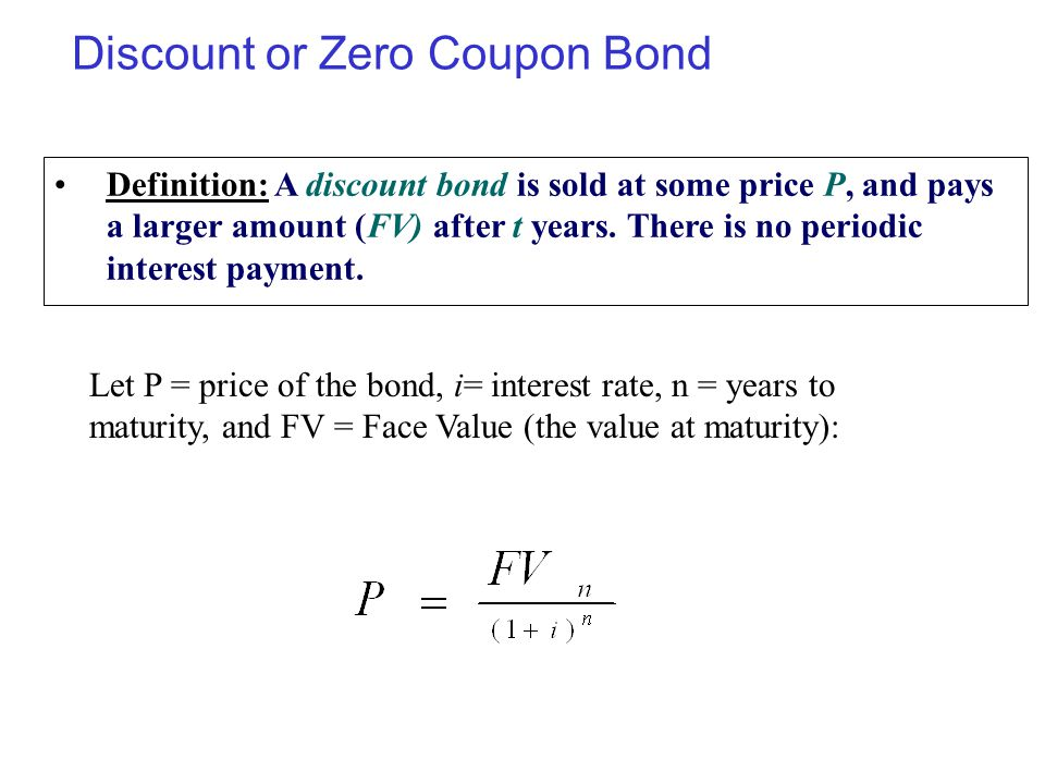 Discount or Zero Coupon Bond