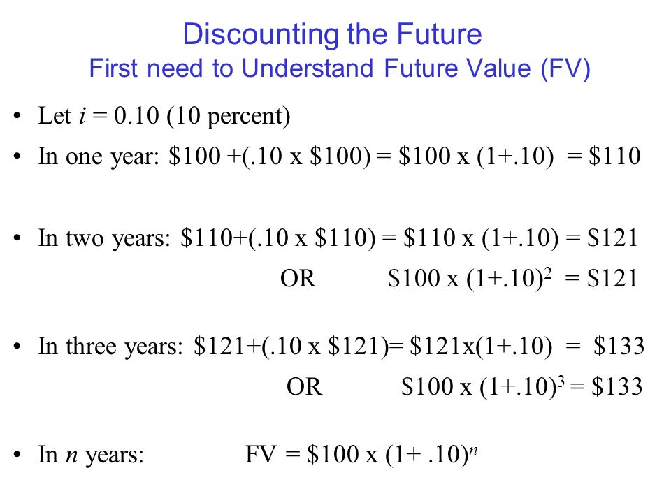 Discounting the Future First need to Understand Future Value (FV)