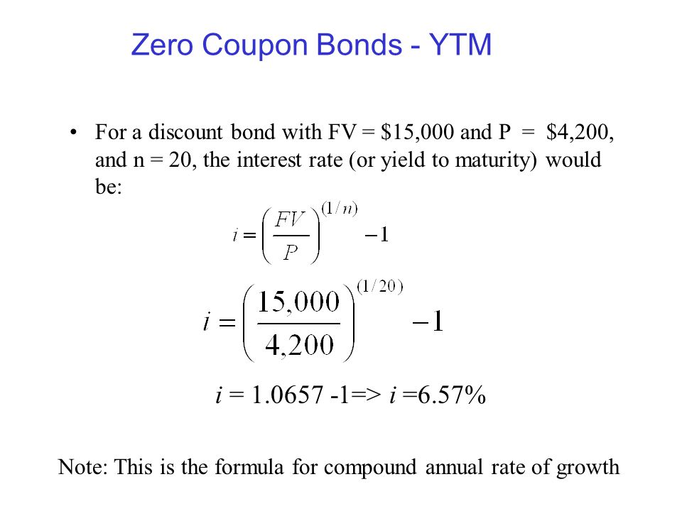 Zero Coupon Bonds - YTM i = => i =6.57%