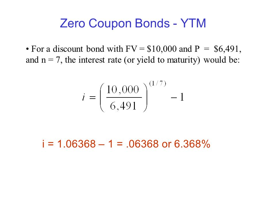 Zero Coupon Bonds - YTM i = – 1 = or 6.368%