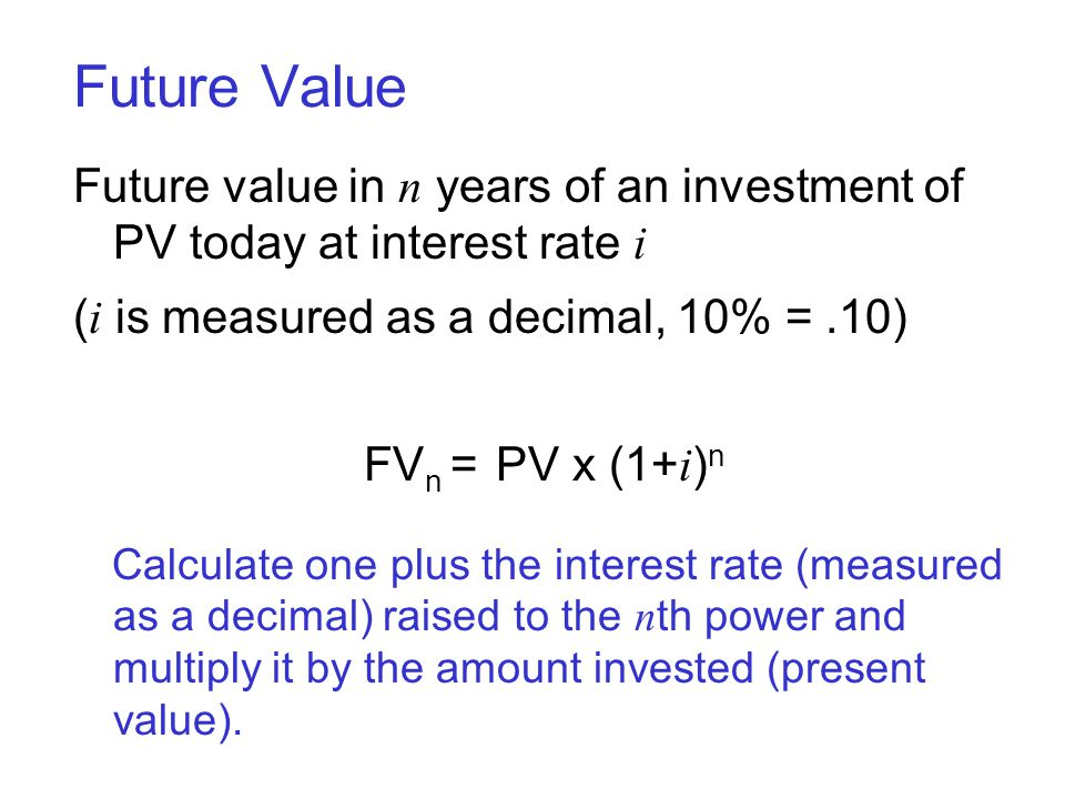 Future Value Future value in n years of an investment of PV today at interest rate i. (i is measured as a decimal, 10% = .10)