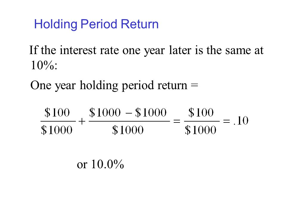 Holding Period Return If the interest rate one year later is the same at 10%: One year holding period return =