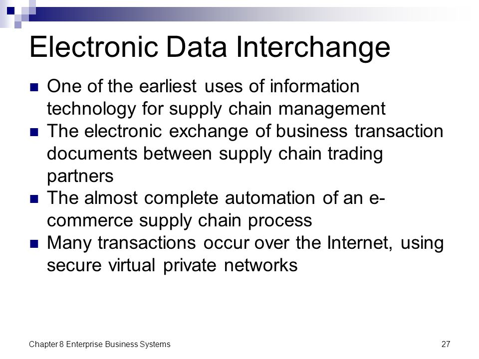 the impact of electronic data interchange in supply chain The main goal of any supply chain integration plan needs to focus on performance electronic data interchange (edi) is used by businesses to automate the exchange of business documents to improve collaboration with their trading partners.
