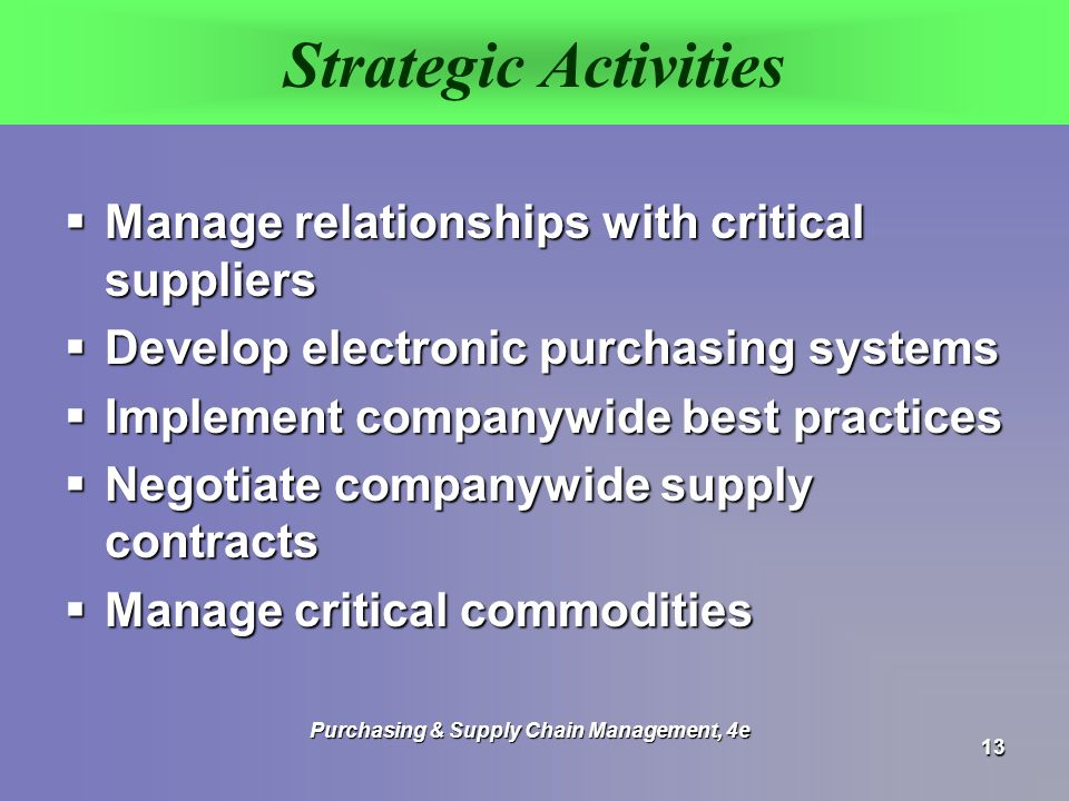 strategic purchasing and supply chain management pdf
