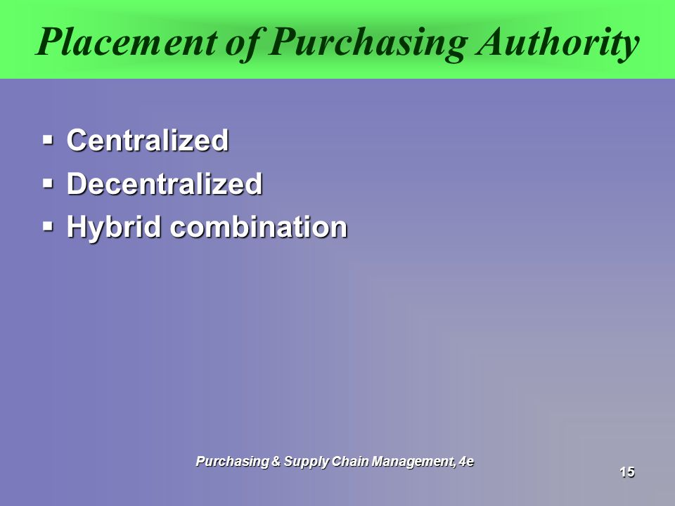 define centralized vs decentralized purchasing authority Centralization and decentralization are the two types of structures, that can be found in the organization, government, management and even in purchasing centralization of authority means the power of planning and decision making are exclusively in the hands of top management it alludes to the concentration of all the powers at the apex level.