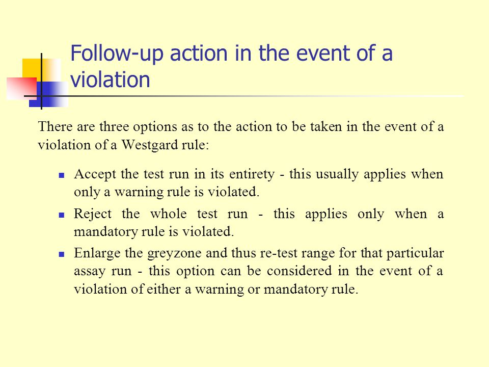 Follow-up action in the event of a violation