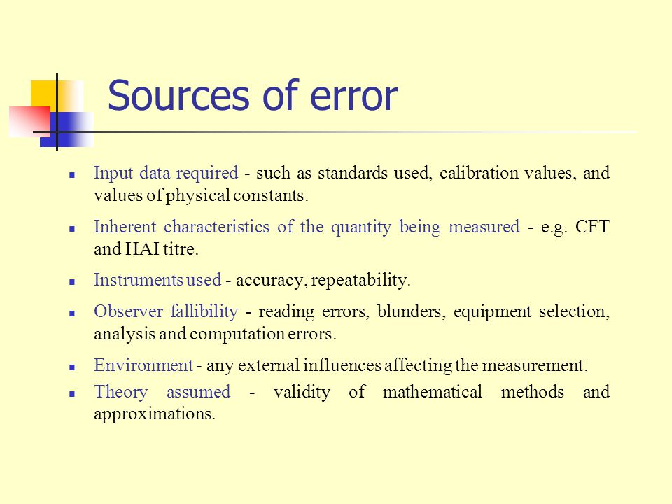 Sources of error Input data required - such as standards used, calibration values, and values of physical constants.