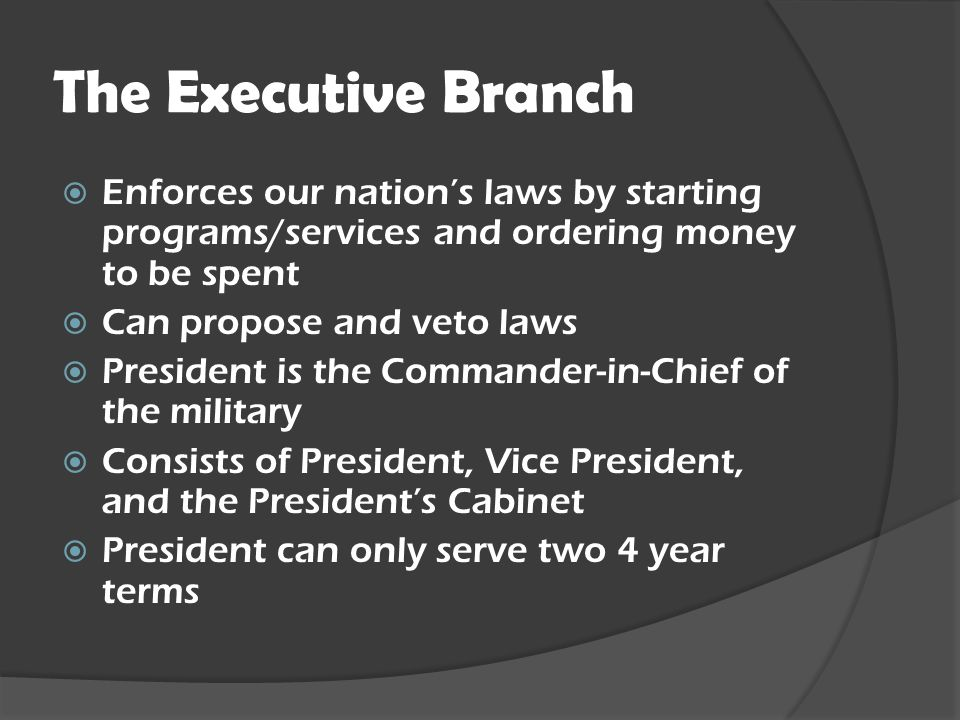 The Executive Branch Enforces our nation's laws by starting programs/services and ordering money to be spent.