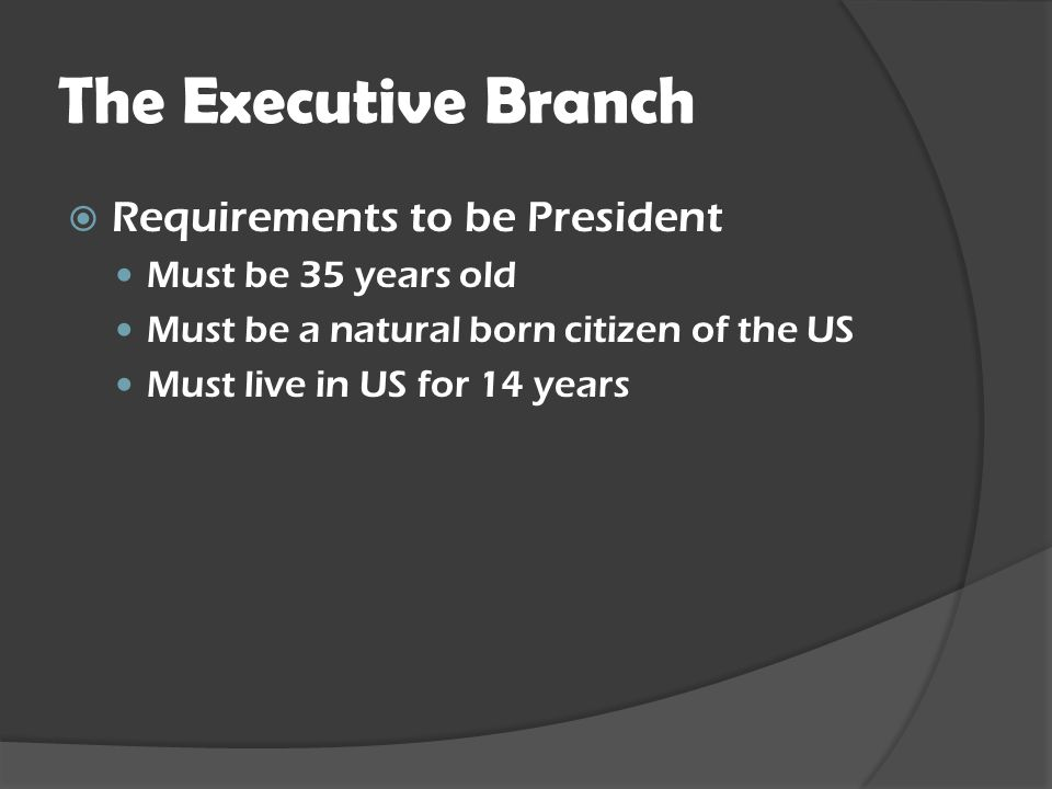 The Executive Branch Requirements to be President Must be 35 years old