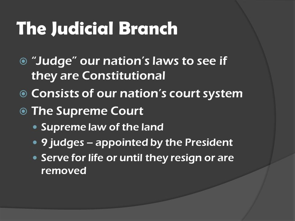The Judicial Branch Judge our nation's laws to see if they are Constitutional. Consists of our nation's court system.