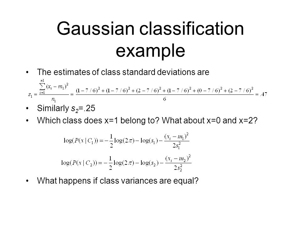 Gaussian classification example