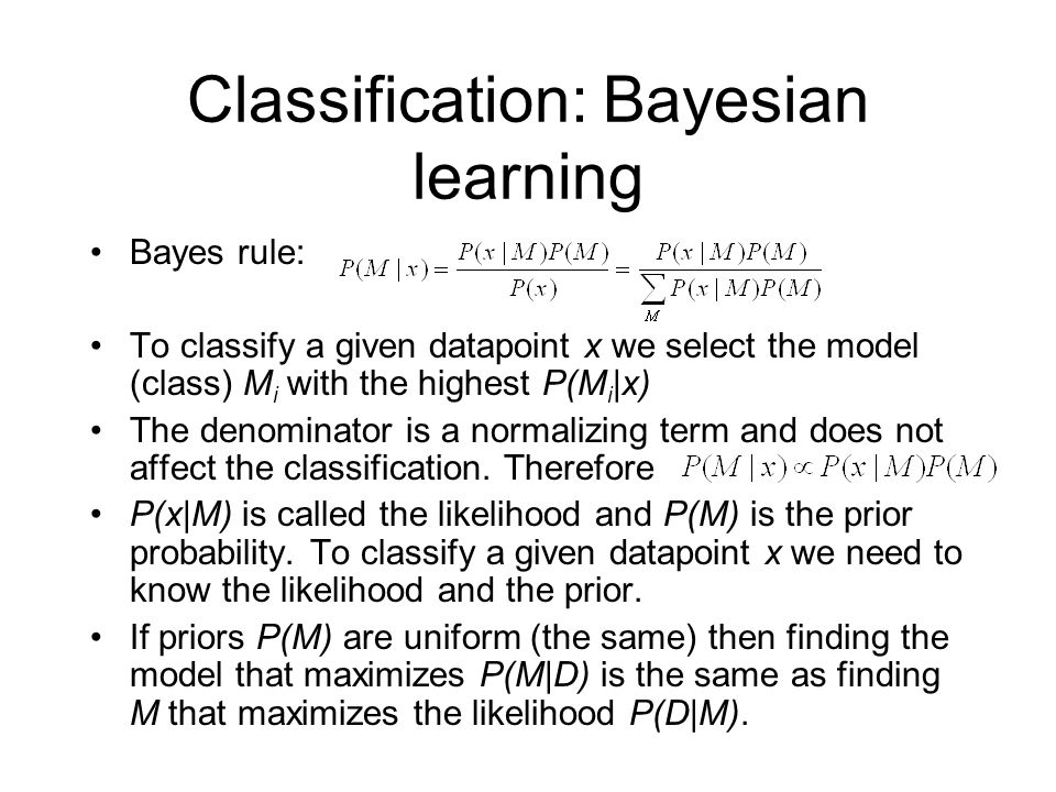 Classification: Bayesian learning