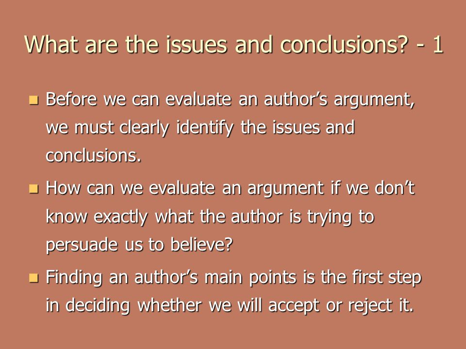 What are the issues and conclusions - 1
