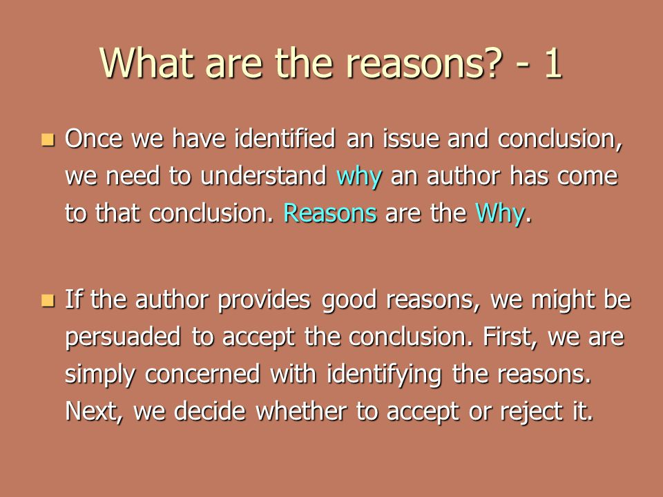 What are the reasons - 1