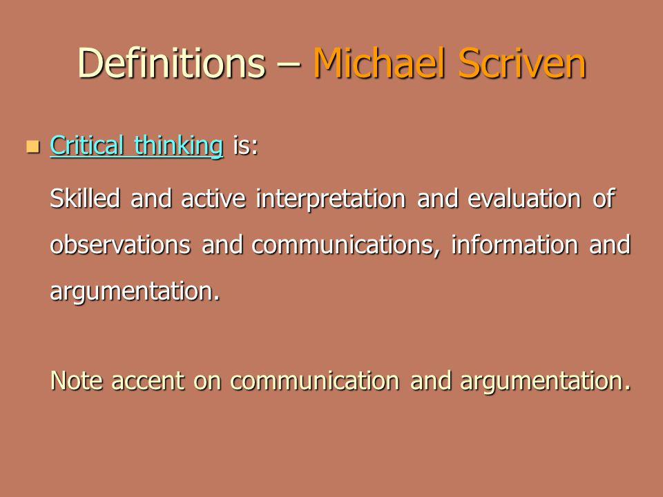 Definitions – Michael Scriven