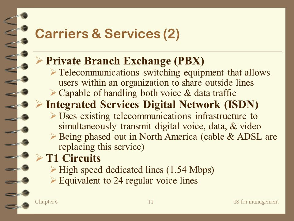Carriers & Services (2) Private Branch Exchange (PBX)
