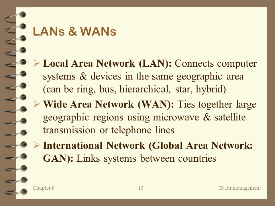 LANs & WANs Local Area Network (LAN): Connects computer systems & devices in the same geographic area (can be ring, bus, hierarchical, star, hybrid)