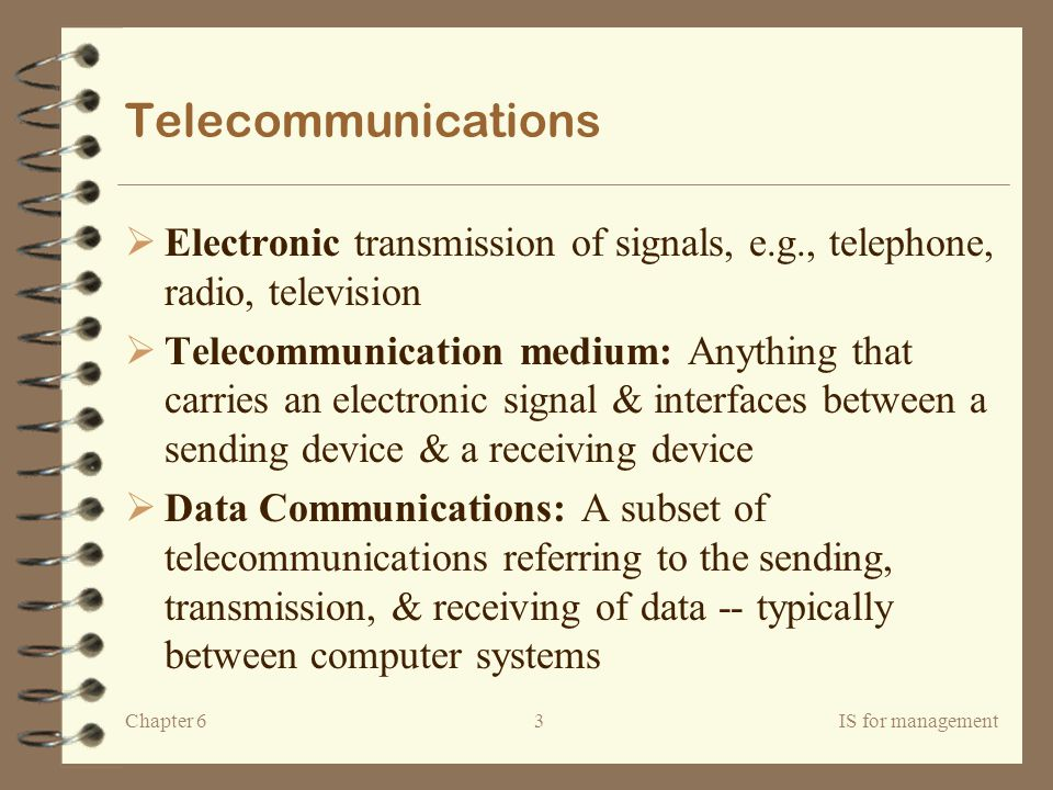Telecommunications Electronic transmission of signals, e.g., telephone, radio, television.