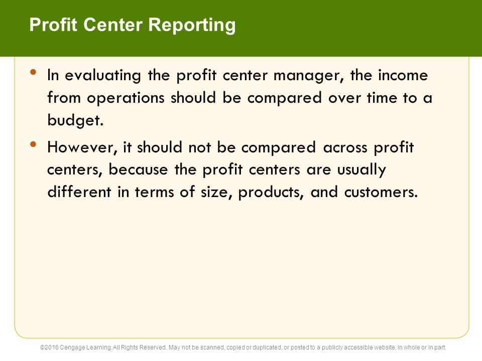 Profit Center Reporting
