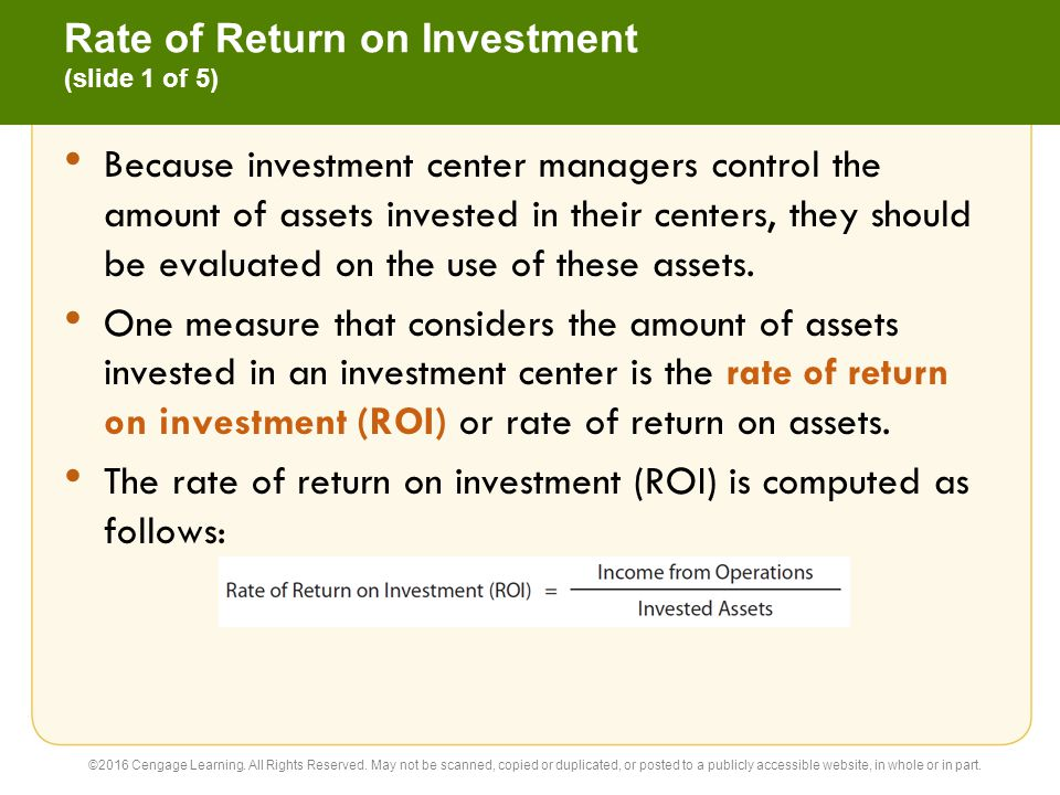 Rate of Return on Investment (slide 1 of 5)