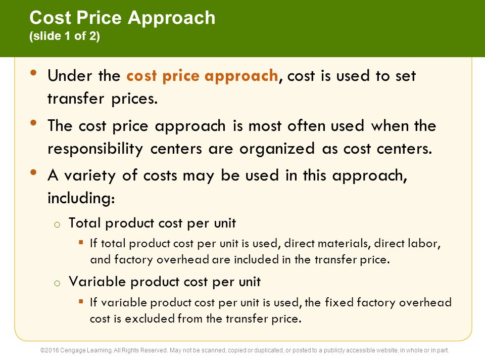 Cost Price Approach (slide 1 of 2)