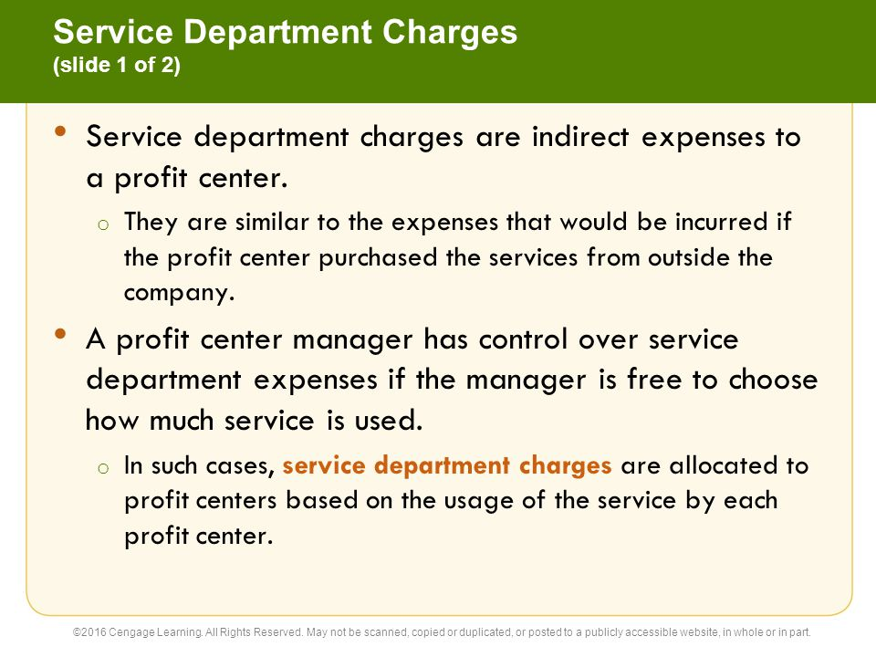 Service Department Charges (slide 1 of 2)