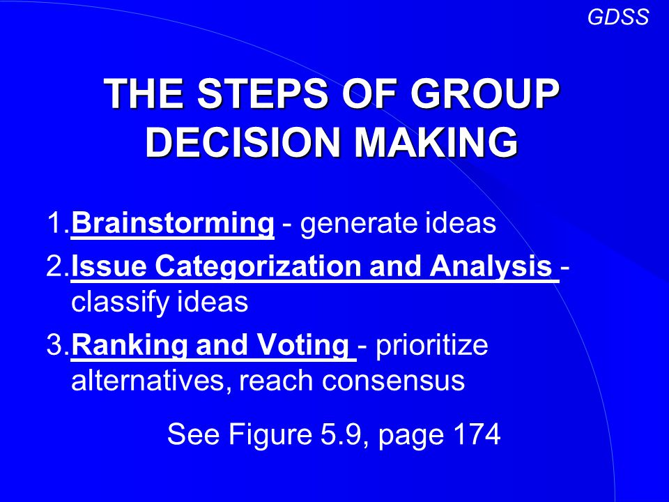 THE STEPS OF GROUP DECISION MAKING