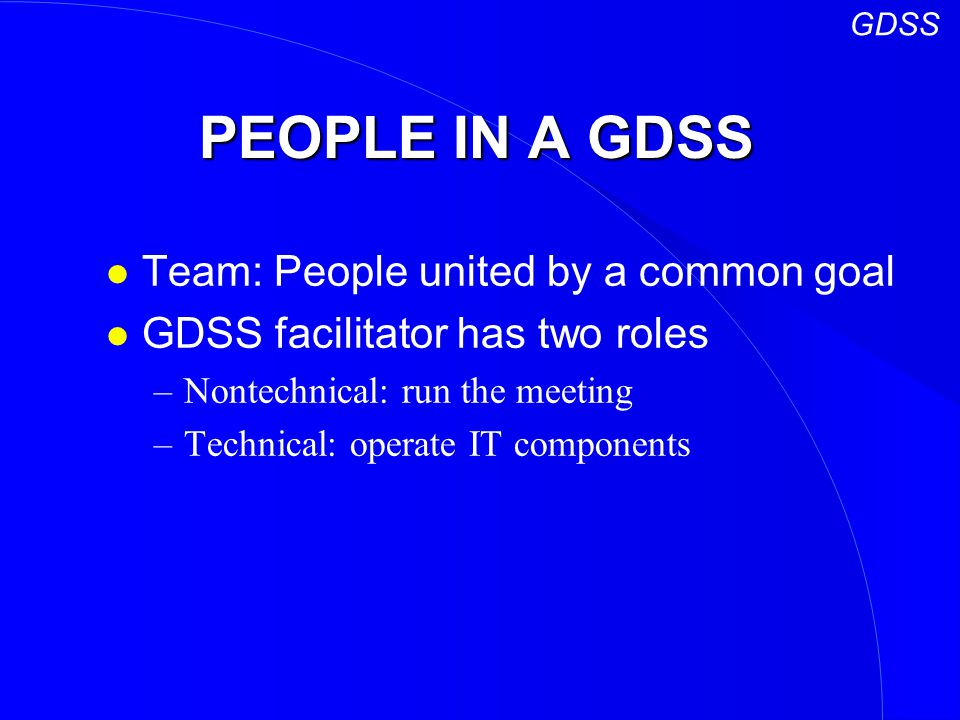 PEOPLE IN A GDSS Team: People united by a common goal