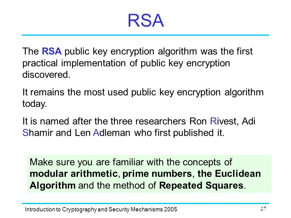 27 RSA The RSA public key encryption algorithm ...