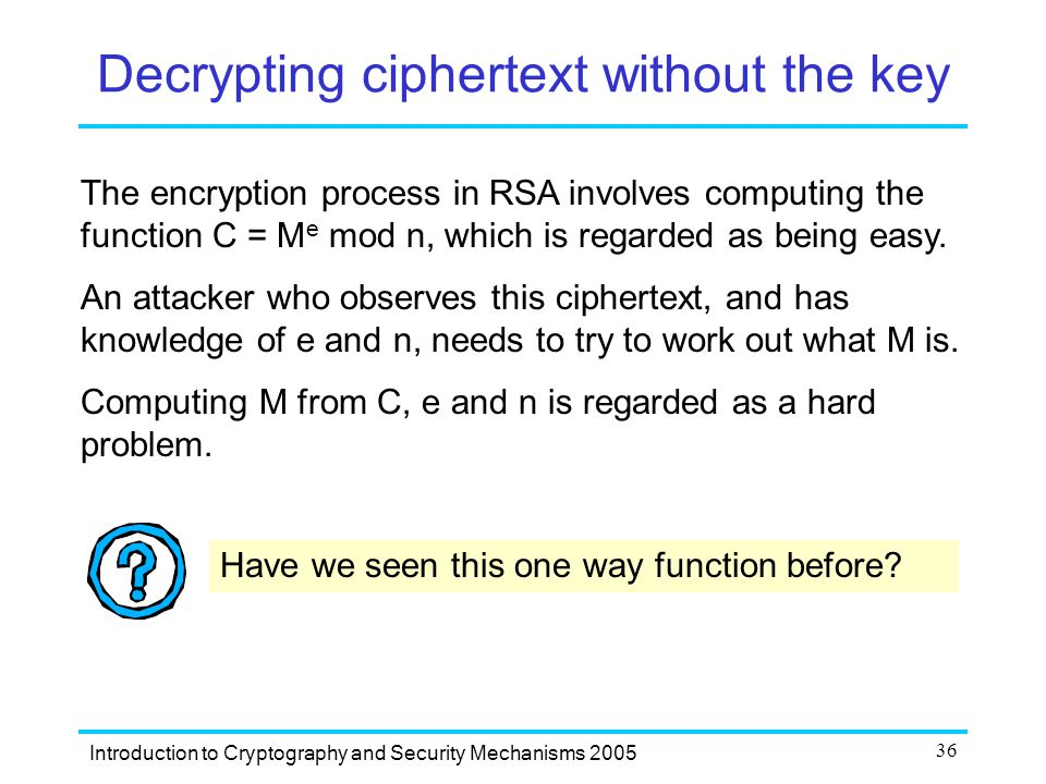 Decrypting ciphertext without the key