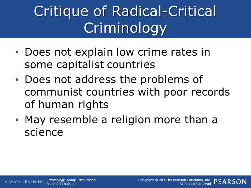 radical theories on crime This collection of essays approaches the issue of crime from the perspective of  criminology, which is traditionally concerned with the nature and causes of crime.
