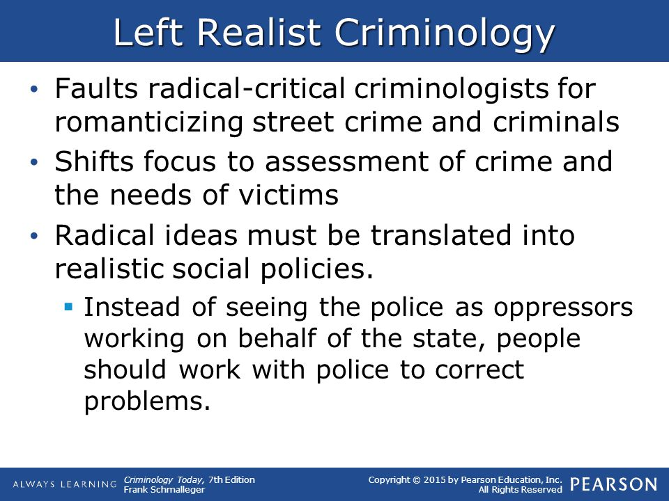 the left realist perspective on crime According to young, for left realism, the social  to view people's fear of crime  as 'irrational.