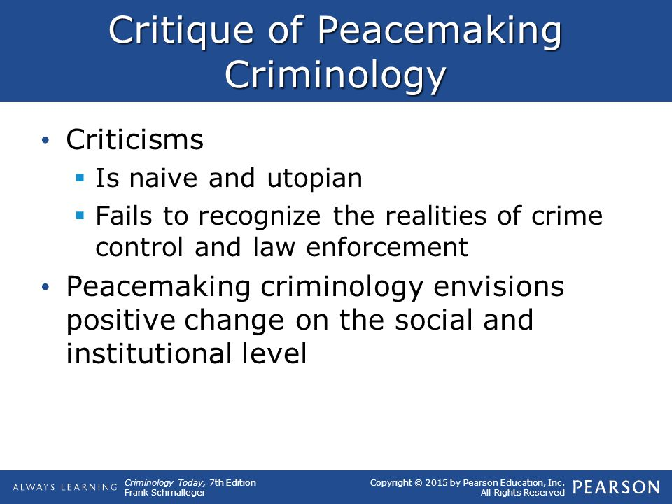 peacemaking criminology Get an answer for 'what is 'peacemaking criminology' what are its central tenets' and find homework help for other law and politics questions at enotes.