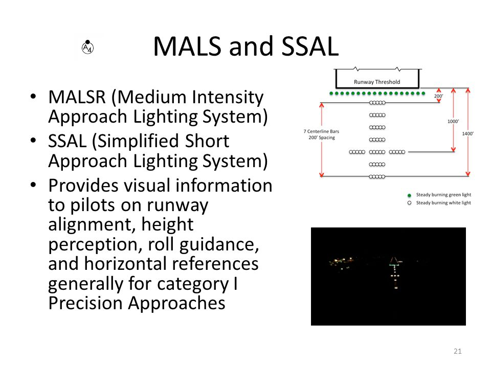MALS and SSAL MALSR (Medium Intensity Approach Lighting System)