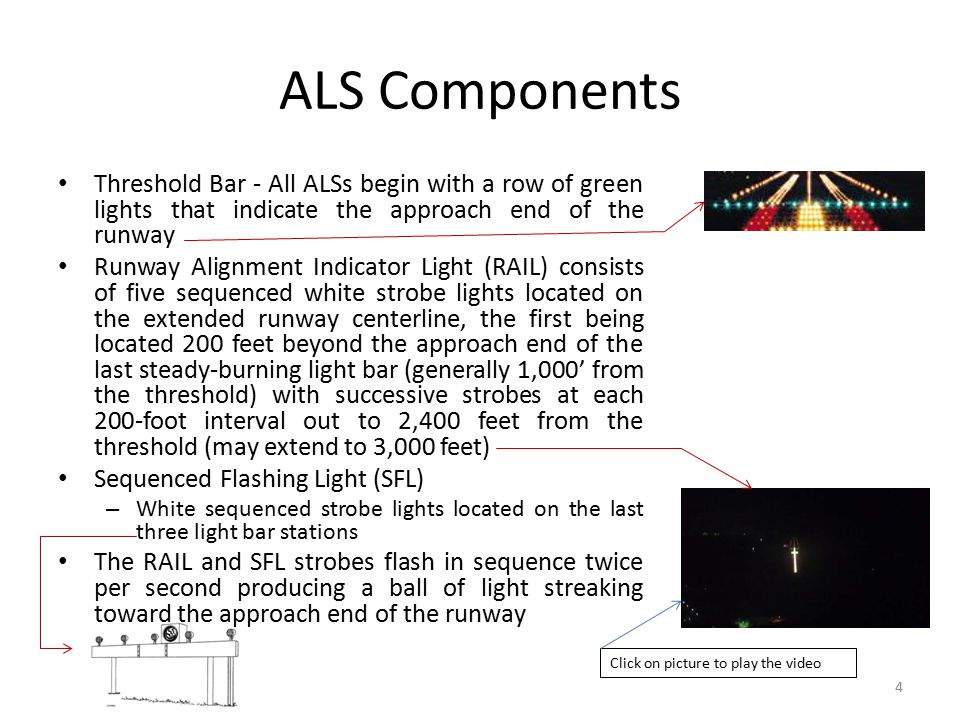 ALS Components Threshold Bar - All ALSs begin with a row of green lights that indicate the approach end of the runway.