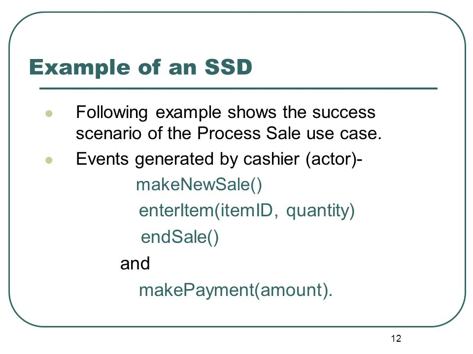 Example of an SSD enterItem(itemID, quantity) endSale() and