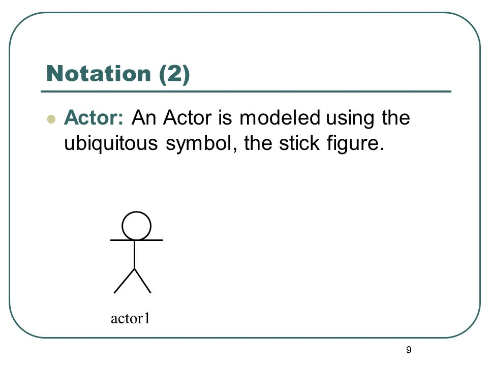 Notation (2) Actor: An Actor is modeled using the ubiquitous symbol, the stick figure. actor1