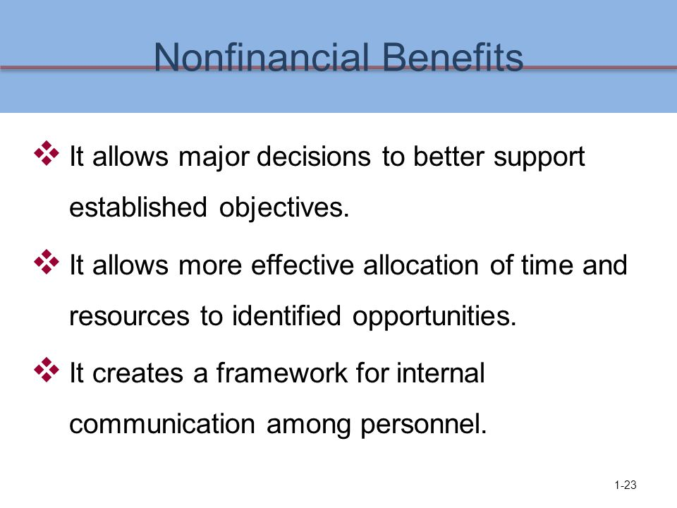 Nonfinancial Benefits