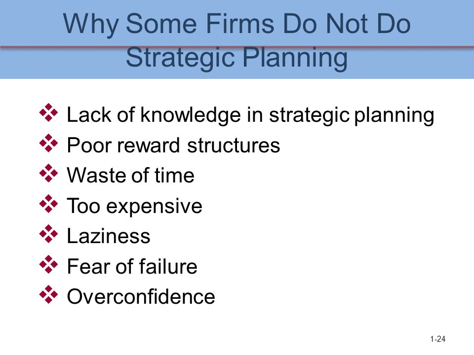 Why Some Firms Do Not Do Strategic Planning