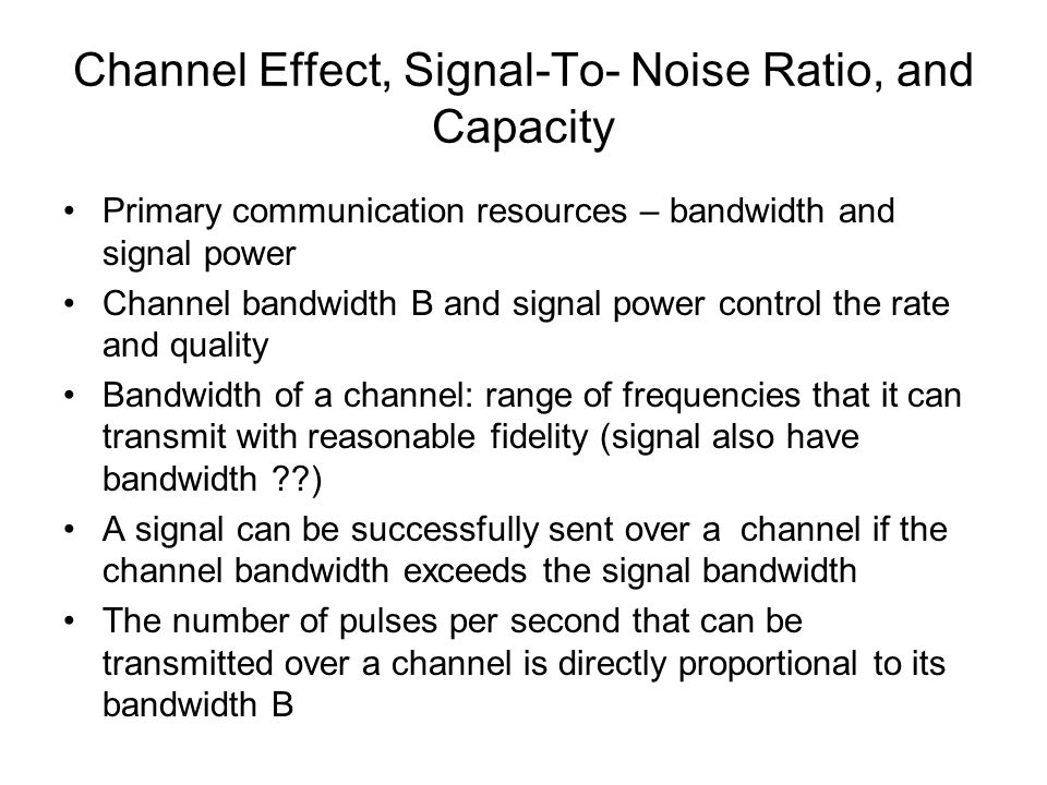 relationship between signal to noise ratio and bandwidth